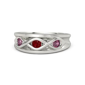 Round Ruby Palladium Ring with Rhodolite Garnet