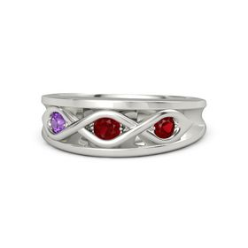 Round Ruby Palladium Ring with Ruby and Amethyst