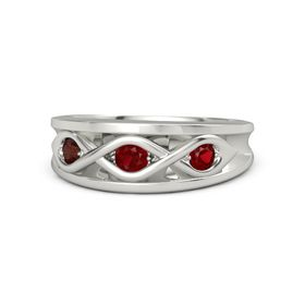 Round Ruby Palladium Ring with Ruby & Red Garnet