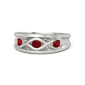 Round Ruby Palladium Ring with Ruby