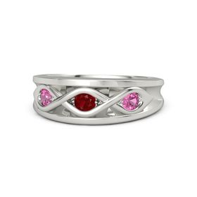 Round Ruby Palladium Ring with Pink Tourmaline