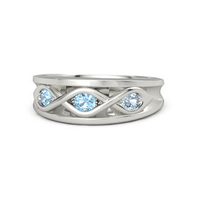 Round Blue Topaz Palladium Ring with Aquamarine and Blue Topaz