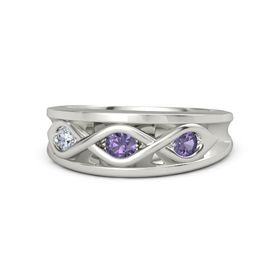 Round Iolite Palladium Ring with Iolite and Diamond