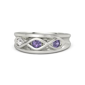 Round Iolite Palladium Ring with Iolite and White Sapphire