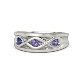 Round Iolite Palladium Ring with Iolite and Blue Sapphire
