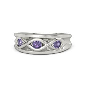 Round Iolite Palladium Ring with Iolite