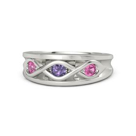 Round Iolite Palladium Ring with Pink Tourmaline