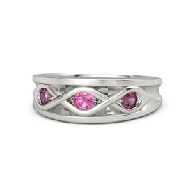 Round Pink Tourmaline Palladium Ring with Rhodolite Garnet