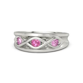 Round Pink Tourmaline Palladium Ring with Pink Sapphire