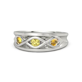 Round Yellow Sapphire Palladium Ring with Citrine