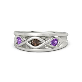 Round Smoky Quartz Palladium Ring with Amethyst
