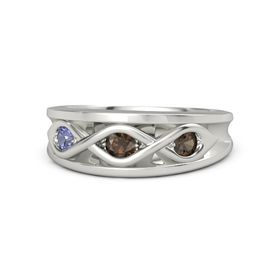 Round Smoky Quartz Palladium Ring with Smoky Quartz & Tanzanite