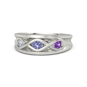 Round Tanzanite Palladium Ring with Amethyst and Diamond