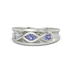 Round Tanzanite Palladium Ring with Tanzanite and Diamond