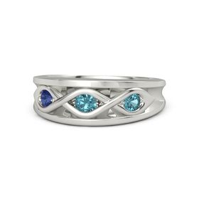 Round London Blue Topaz Platinum Ring with London Blue Topaz and Blue Sapphire
