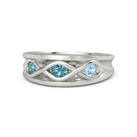 Round London Blue Topaz Platinum Ring with Blue Topaz and London Blue Topaz