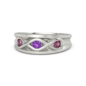 Round Amethyst Platinum Ring with Rhodolite Garnet