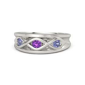 Round Amethyst Platinum Ring with Tanzanite