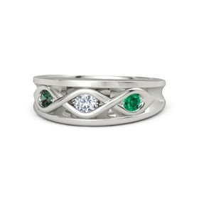 Round Diamond Platinum Ring with Emerald and Alexandrite