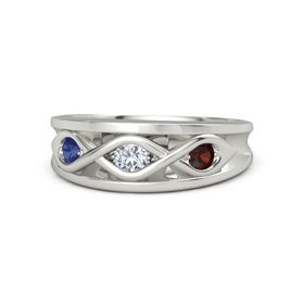 Round Diamond Platinum Ring with Red Garnet and Blue Sapphire