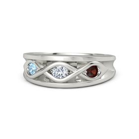 Round Diamond Platinum Ring with Red Garnet and Blue Topaz