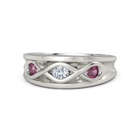 Round Diamond Platinum Ring with Rhodolite Garnet
