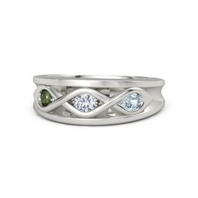 Round Diamond Platinum Ring with Aquamarine and Green Tourmaline
