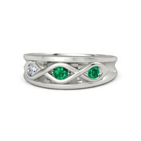 Round Emerald Platinum Ring with Emerald & Diamond