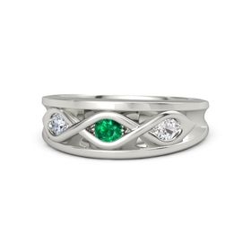Round Emerald Platinum Ring with White Sapphire and Diamond