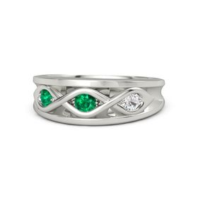 Round Emerald Platinum Ring with White Sapphire and Emerald