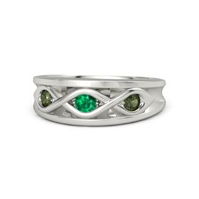 Round Emerald Platinum Ring with Green Tourmaline
