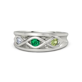 Round Emerald Platinum Ring with Peridot and Diamond
