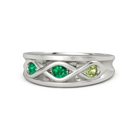 Round Emerald Platinum Ring with Peridot & Emerald