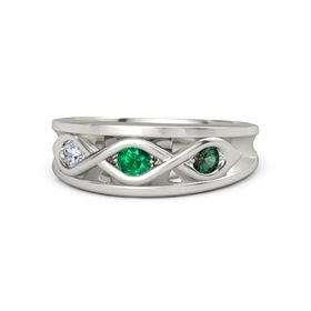 Round Emerald Platinum Ring with Alexandrite and Diamond