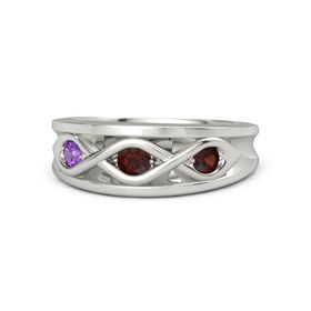 Round Red Garnet Platinum Ring with Red Garnet and Amethyst
