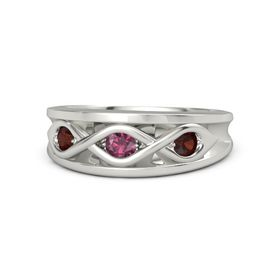 Round Rhodolite Garnet Platinum Ring with Red Garnet