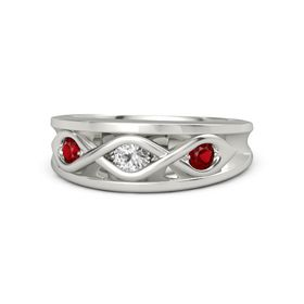 Round White Sapphire Platinum Ring with Ruby