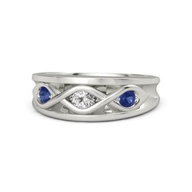 Round White Sapphire Platinum Ring with Blue Sapphire