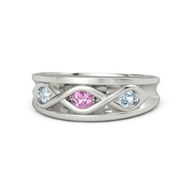 Round Pink Sapphire Platinum Ring with Aquamarine