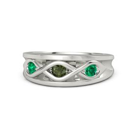 Round Green Tourmaline Platinum Ring with Emerald