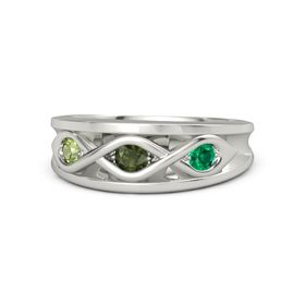 Round Green Tourmaline Platinum Ring with Emerald and Peridot