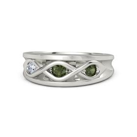 Round Green Tourmaline Platinum Ring with Green Tourmaline and Diamond