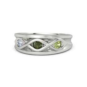Round Green Tourmaline Platinum Ring with Peridot & Diamond