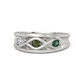 Round Green Tourmaline Platinum Ring with Alexandrite and Diamond
