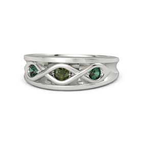 Round Green Tourmaline Platinum Ring with Alexandrite