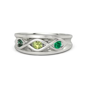 Round Peridot Platinum Ring with Emerald and Alexandrite