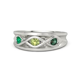 Round Peridot Platinum Ring with Alexandrite and Emerald