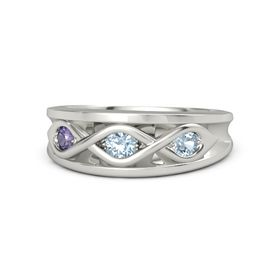 Round Aquamarine Platinum Ring with Aquamarine and Iolite