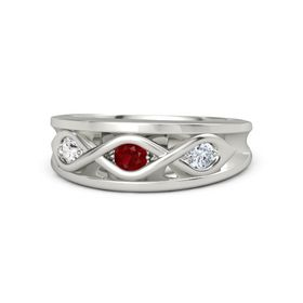 Round Ruby Platinum Ring with Diamond and White Sapphire
