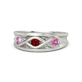 Round Ruby Platinum Ring with Pink Tourmaline and Pink Sapphire